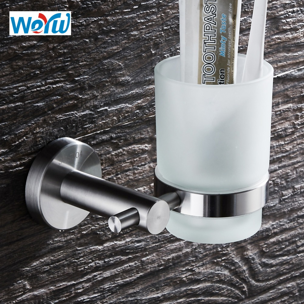 WEYUU 304 Stainless Steel Cup & Tumbler Holders  Wire drawing Wall Mounted  Toothbrush Cup Holder Bathroom Accessories