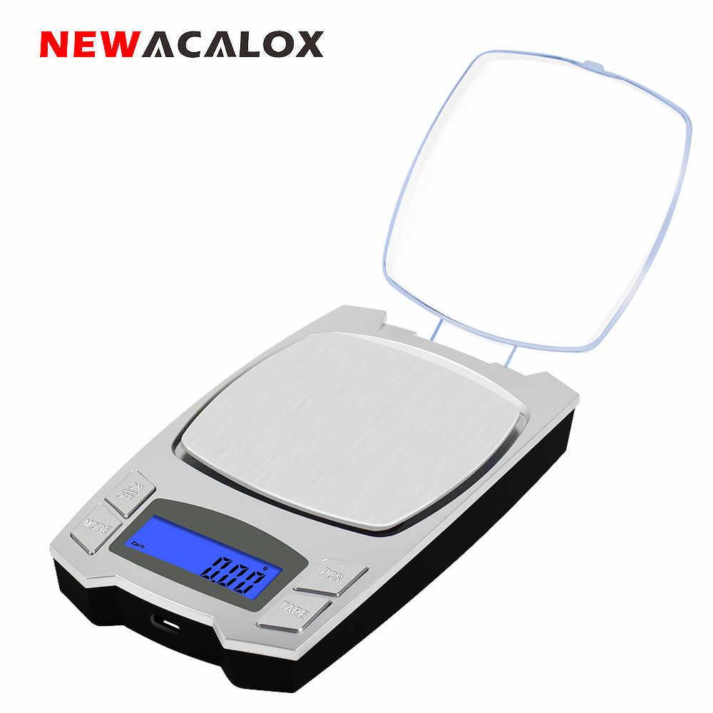 ميزان مجوهرات إلكتروني NEWACALOX 500g x 0.01g من NEWACALOX شاشة عرض LCD رقمية بمنفذ USB مقياس دقيق للجيب المحمول في المختبر