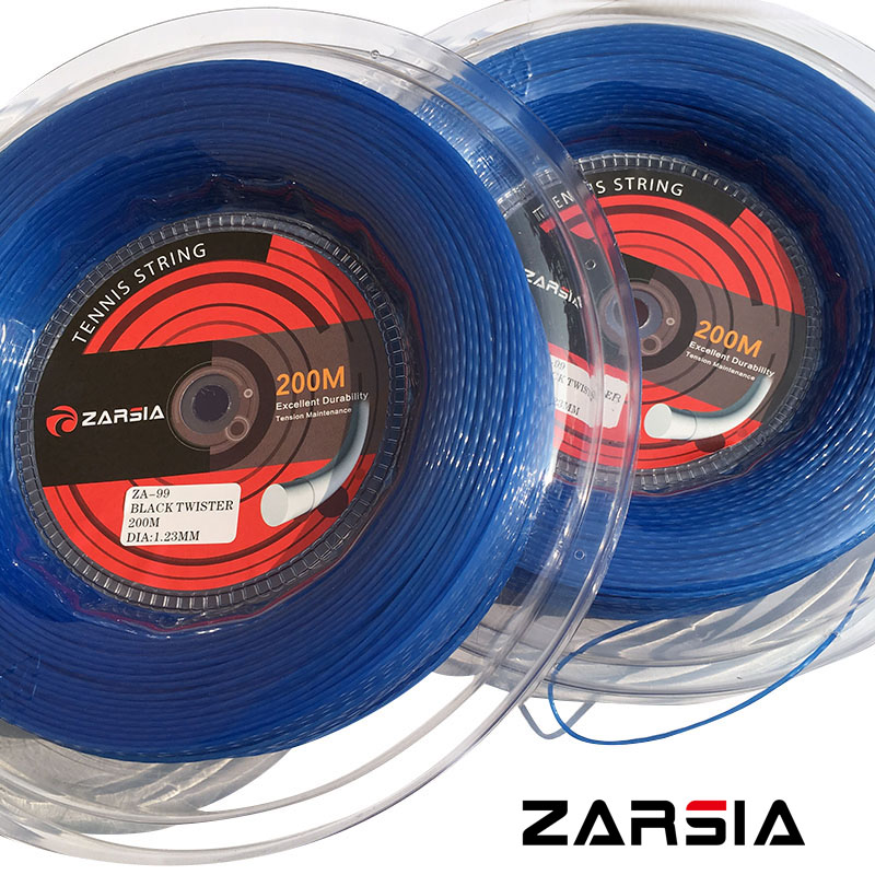 ZARSIA ZA99 New Blue color HEXASPIN TWIST Tennis strings 1.23mm tennis racket string 200M big banger zarsia 200m flash nylon tennis string 16g 1 35mm multifilamen tennis rackets string squash strings synthetic tennis strings