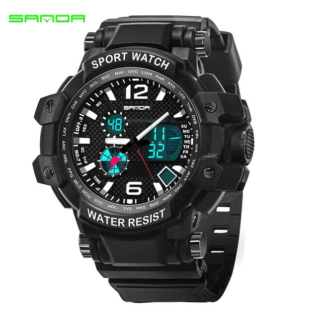 Sanda marcas famosas dos homens de quartzo de LED Digital Watch homens Sports relógios Relogio Masculino militar choque à prova d ' água relógio de pulso