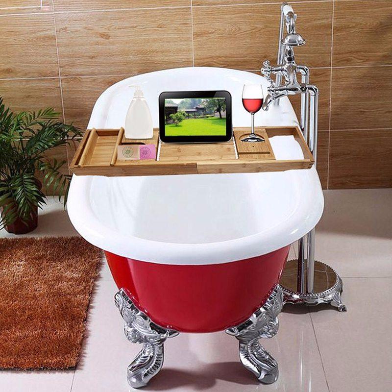 Bamboo BathtubTray Handcrafted Bath Tray Bathroom Shelves bathtub ...