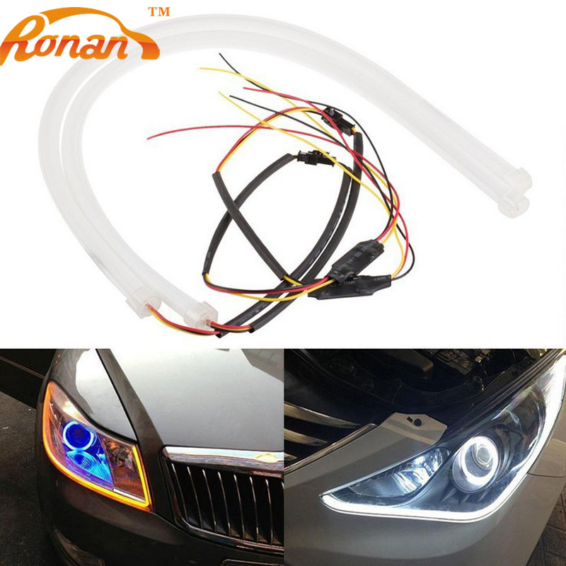 RONAN 2 X 60cm Daytime Running Light Universial Flexible Soft Tube Guide Car LED Strip White DRL and Yellow Turn Signal Light 2pcs 30cm angel eye daytime running light tube soft flexible car styling led strip drl white yellow blue red turn signal lights