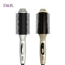 2 In1 Electric Hair Brush Hair Styling Tool Hair Straightener Comb + Wand Curler Flat Iron Tourmaline Ceramic Iron Curling Brush