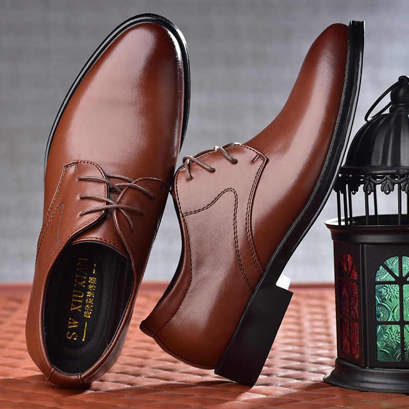 Erkekler Rahat PU deri ayakkabı Lüks Klasik Erkek Iş Oxford Ayakkabı Erkek Düğün Parti Ofis Elbise Ayakkabı Zapatos De Hombre