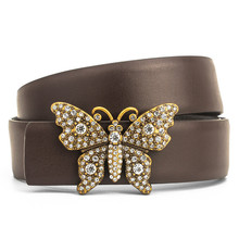 2019 Real Leather Womens Belts Luxury Butterfly Smooth Buckle Belt For Girls Ladies Fashion Bee Belt Waistband