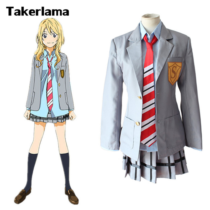Takerlama Anime Your Lie in April Miyazono Kaori Skirt School Uniform Cosplay Costume Full Set font