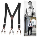 NEW Fashion 35mm Width Adjustable Leather Alloy 6 Clips Male Men Casual Elastic Suspender Strap Brace 6 Buttons Clips-on Y Shape
