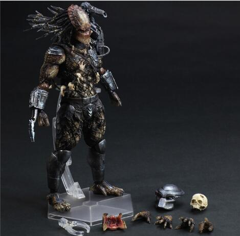 Play Arts Kai Action Figure Predator Master Wolf PVC Figure Alien Hunter Primevil Playarts Kai 260mm Anime Predator Model PA11 stealth edition predator alien ganso elders lone wolf mask film may be moving even hand model h28