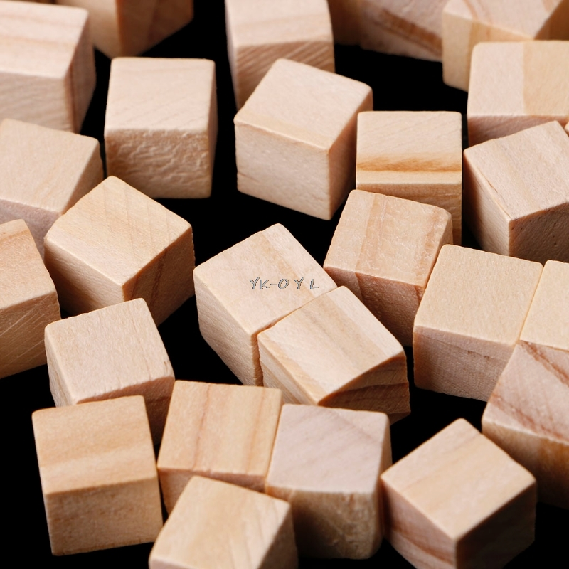 50pcs/set 10mm Wooden Square Blocks Mini Cubes Embellishment For Woodwork Craft DIY