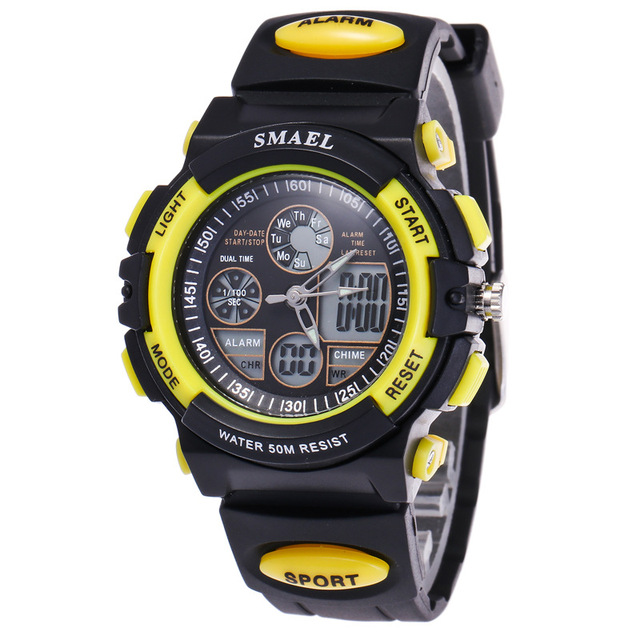 2017 New Arrival Children Boy Men Student Dual Time Waterproof Sport Digital Soft Rubber Wrist Watch Clock