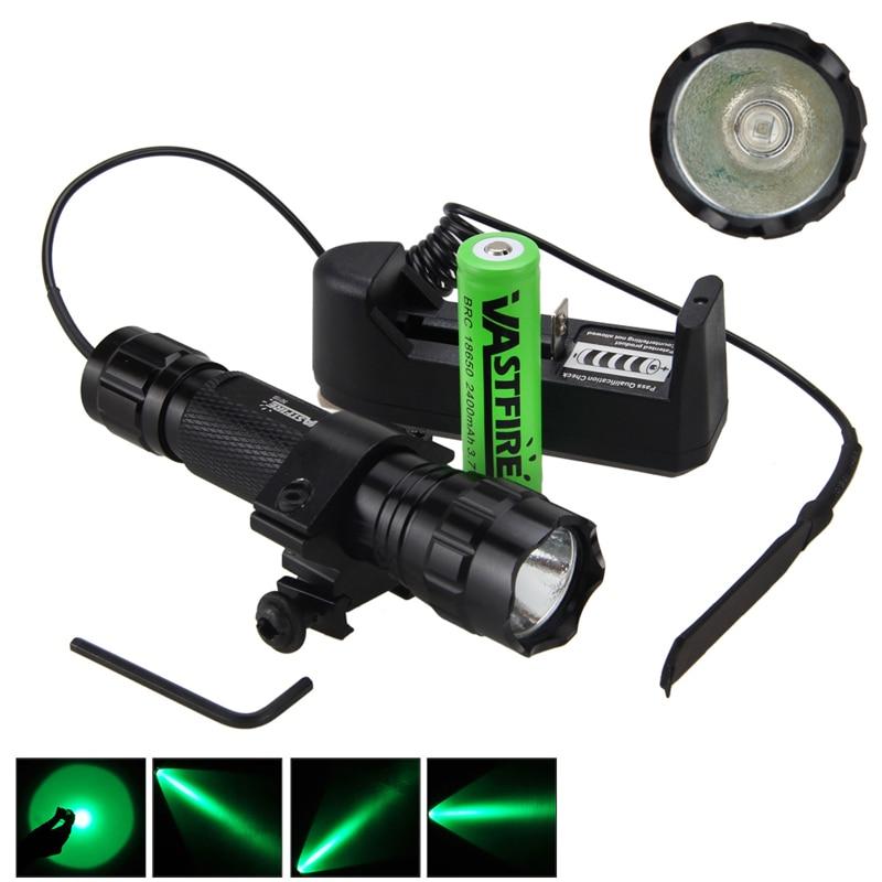 5000лм XM-L Q5 T6 светодиодный оружейный светильник белый тактический охотничий флэш-светильник+ прицел страйкбол крепление+ пульт дистанционного управления+ 18650+ зарядное устройство - Цвет: Зеленый