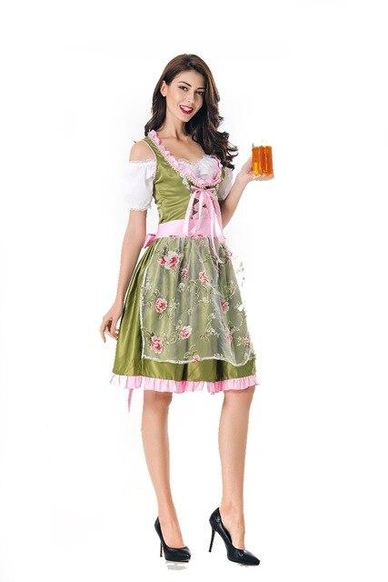 26b34979d8613 Halloween German Beer Girl Costume Oktoberfest Costume Maid Germany Bavarian  Print Short Sleeve Dress Dirndl For