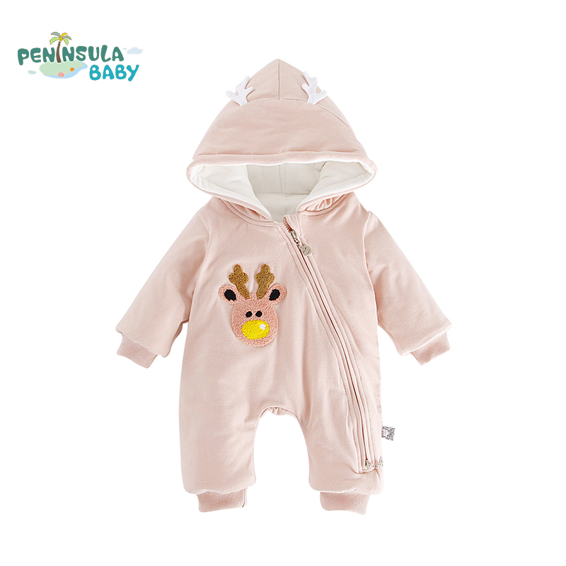 Newborn Infant Baby Boys Girls Rompers Long Sleeve Thicken Warm Clothes Cartoon Hooded Jumpsuit Comfortable Winter Costumes 2017 lovely newborn baby rompers infant bebes boys girls short sleeve printed baby clothes hooded jumpsuit costume outfit 0 18m