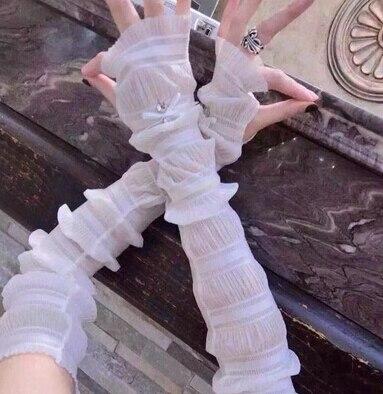 Женские летние длинные перчатки, солнцезащитные тонкие длинные дизайнерские анти-УФ шелковые шифоновые перчатки, сексуальные перчатки без пальцев R576 - Цвет: white