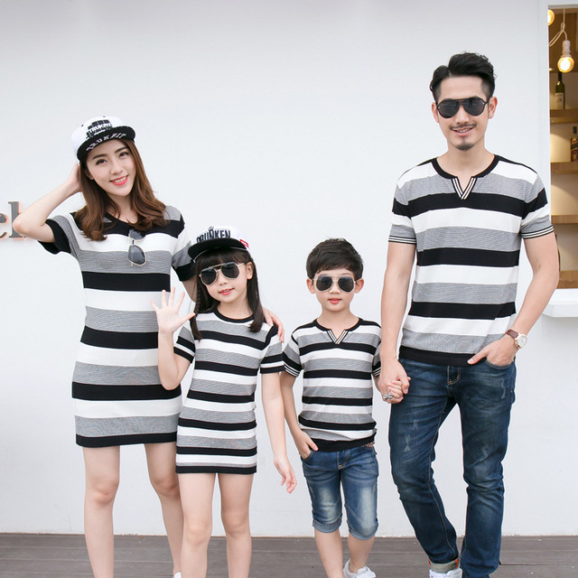 83a3c4cf High Quality Family Set Striped Clothing Mother Daughter Dresses Father Son  Tops Family Style Clothing Parent