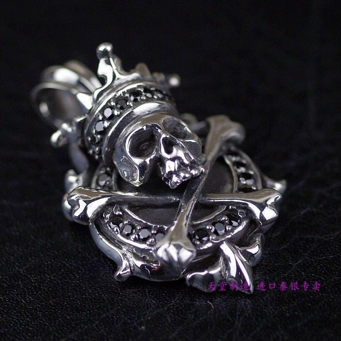 Thailand, Crown Skull Black Bone Stick Silver Silver PendantThailand, Crown Skull Black Bone Stick Silver Silver Pendant
