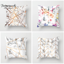 Fuwatacchi Gold Geometric Cushion Cover Lines Case Cushion Cover Marble Texture Throw Pillow Decor Living Room Cushion Cover цены