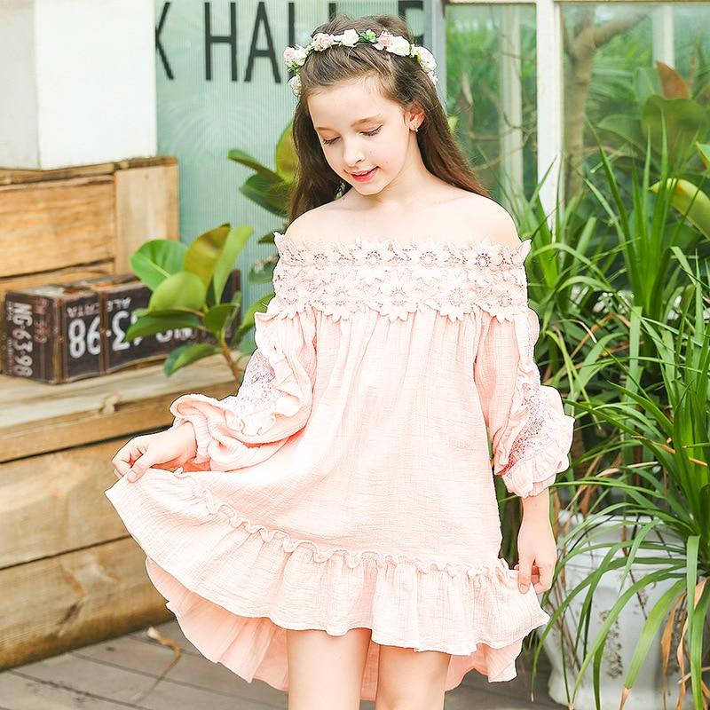 2017 Autumn Vintage Teen Kids Lace Flare Sleeve Mini Dresses Princess Girl Off Shoulder Dress Cotton Children Boutique Clothing off the shoulder flare sleeve shirred blouse