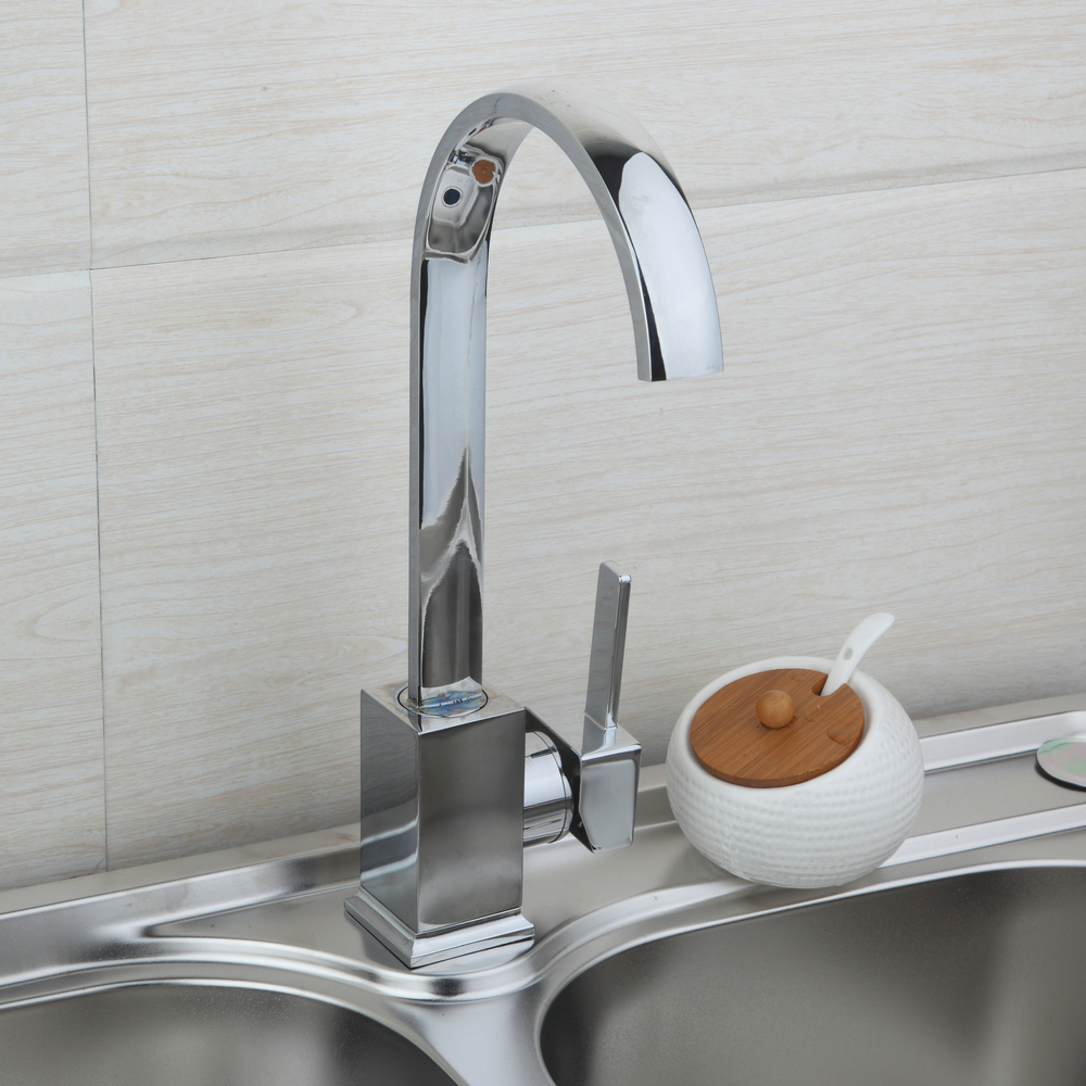 YANKSMART Deck Mounted Swivel Kitchen Faucets Hot Cold Water Mixer Basin Tap Faucet Square Design Kitchen