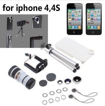 Envío Libre 4 en 1 Lente de La Cámara Kit de 8X Teleobjetivo Blanco lente gran angular ojo de pez + trípode + estuche duro para iphone 4 4s blanco