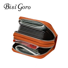BISI GORO 2019 Fashion Unisex Genuine Leather Blocking Wallets With RFID Double Zipper Card Holder ID Credit Card Case