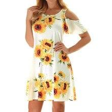 womens dresses sunflower dress 2019 Summer Beach Plus Size