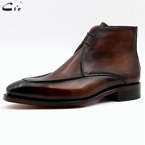 Image 2 - Cie Full Grain Genuine Calf Leather Boot Patina Brown Handmade Lacing Derby Ankle Boots A06