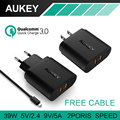 AUKEY Quick Charge 3.0 Wall Charger 2 USB Travel Fast Charging for Samsung GalaxyS7/S6/Edge LG G5 iPhone 7 Nexus 6P EU/US Plug