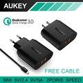 AUKEY Rápida Carga 3.0 Cargador de Pared de Viaje 2 USB de Carga Rápida para samsung galaxys7/s6/edge lg g5 iphone 7 nexus 6 p ue/ee.uu. plug