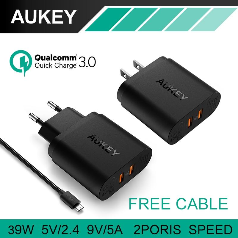 imágenes para Aukey rápida carga 3.0 cargador de pared de viaje 2 usb de carga rápida para samsung galaxys7/s6/edge lg g5 iphone 7 nexus 6 p ue/ee.uu. plug