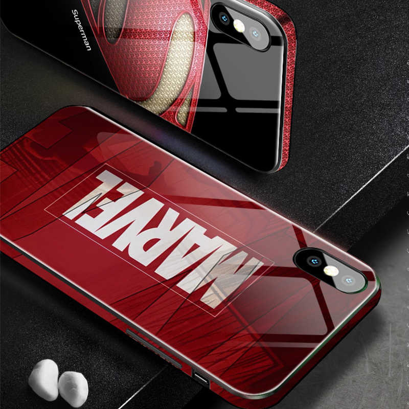 Marvel DC Tempered Glass Case for iPhone XR XS MAX 8 7 6S Plus 7Plus 8Plus Coque Logo Ironman Batman Captain Phone Cover Capinha