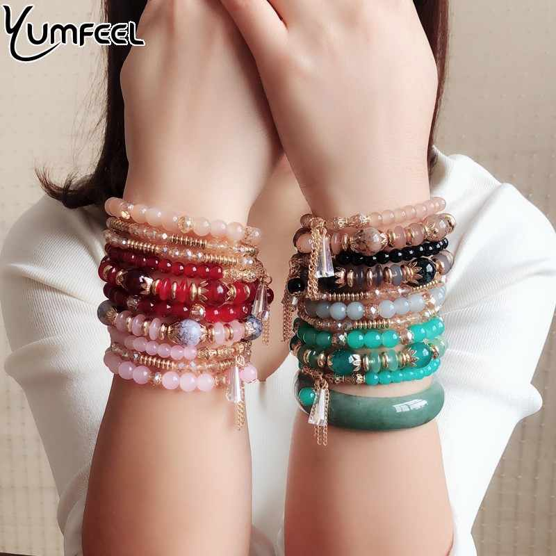 Yumfeel Brand New Fashion Jewelry Beads Bracelet Handmade Multi layer Acrylic Resin Glass Crystal Beaded Bracelet Women Gifts