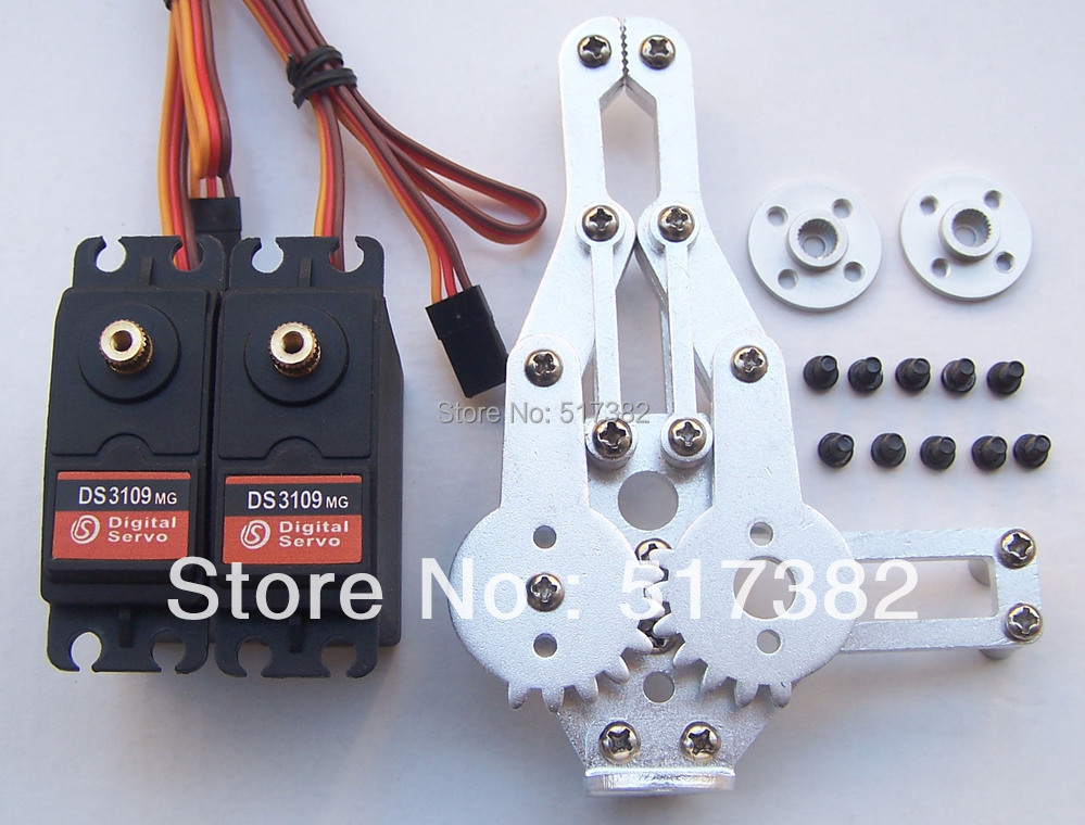 Free ship 2 DOF Robot Arm Clamp Claw Mount kit + 2 DS3109 Metal gear Digital servo 9kg +2 circle metal holder 25T for Arduino new original sgdv 1r6a01b sgmjv 02ade6s 200v 200w 0 2kw servo system