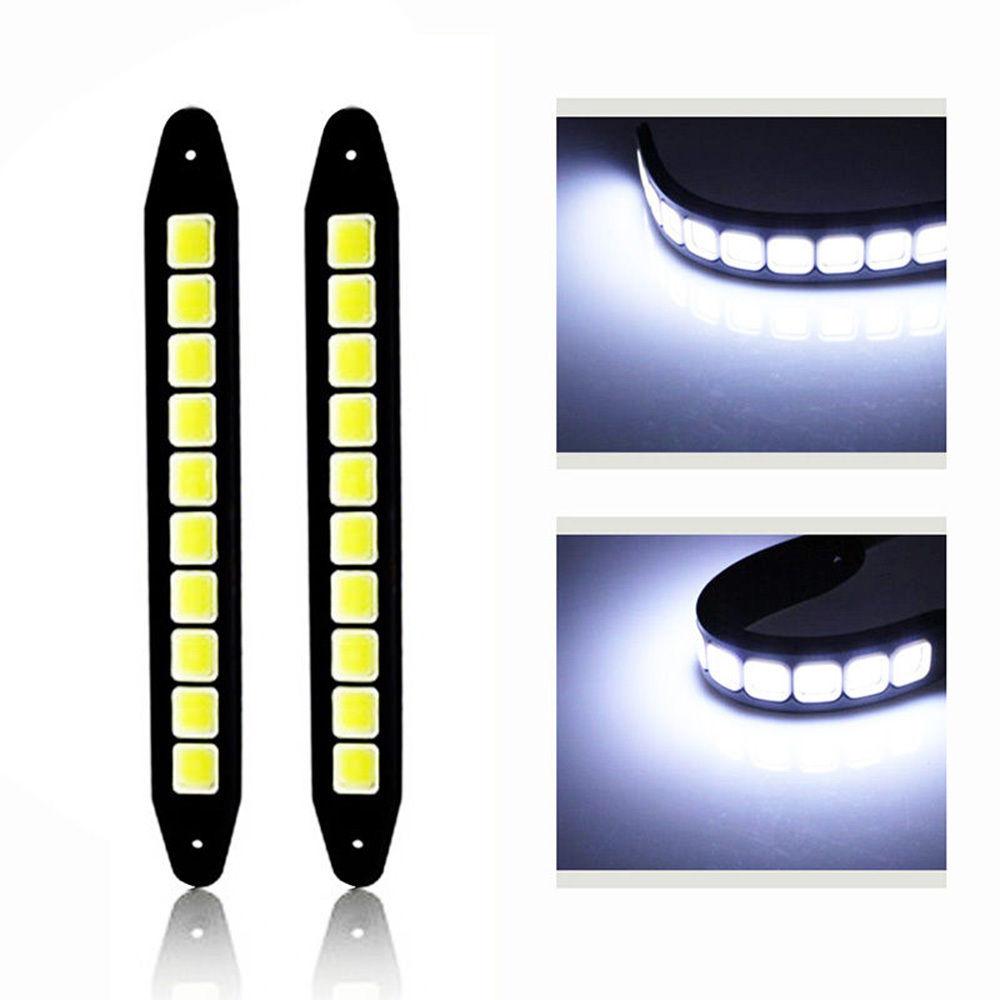 CYAN SOIL BAY Car Styling 2pcs <font><b>Daytime</b></font> <font><b>Running</b></font> Light Waterproof COB Day Time Working Lights Flexible <font><b>LED</b></font> DRL Driving <font><b>Lamp</b></font>