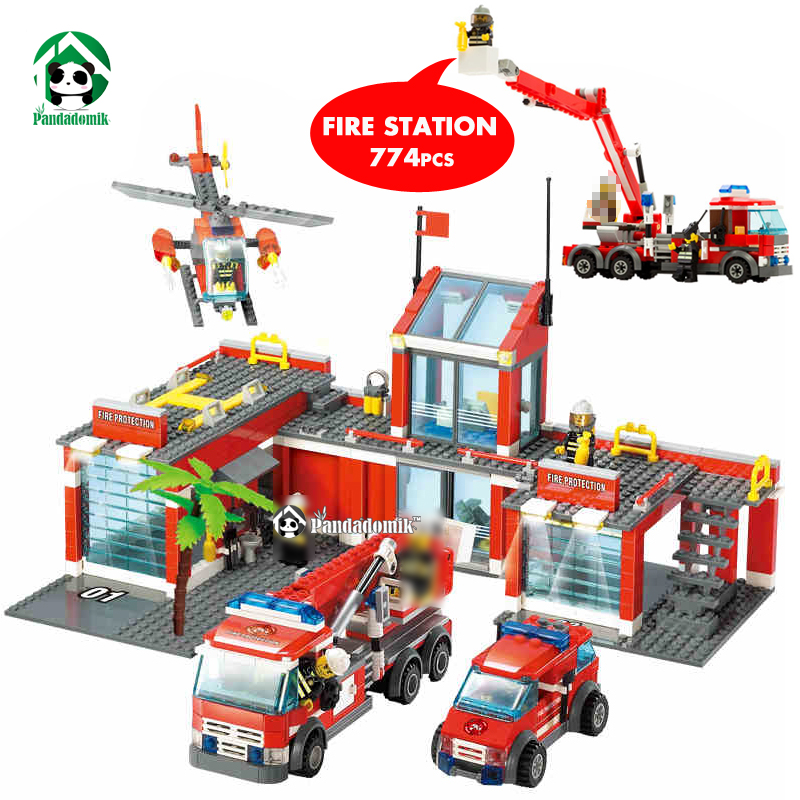 Kazi Large City Fire Station 774Pcs Building Blocks Bricks Constructor set Educational Toys for Children compatible lepin lepin 02012 city deepwater exploration vessel 60095 building blocks policeman toys children compatible with lego gift kid sets