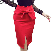 Women's Fashion Bow Skirt Discounts 2017 Spring Summer Sexy Package Hip Skirt Slit Laides High Waist Solid Color Skirts