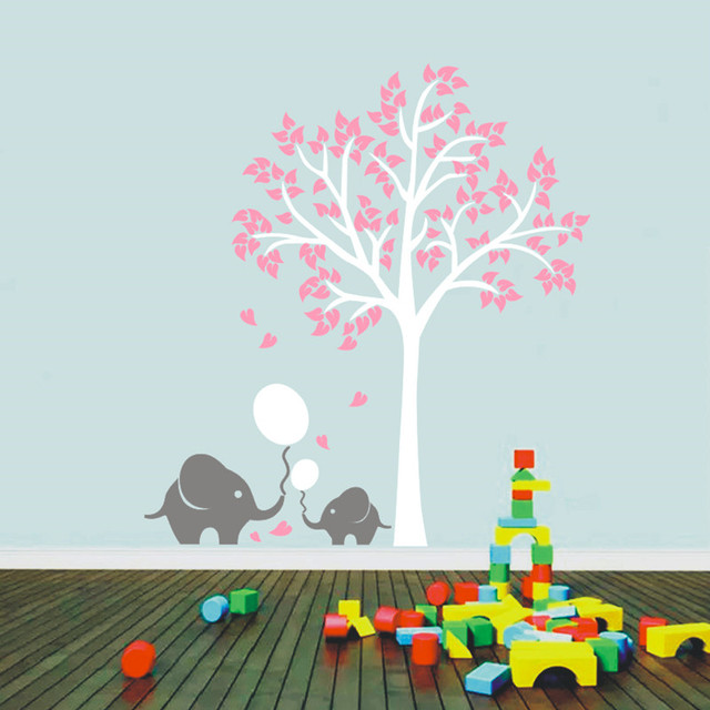 Cute Elephant Pulled Balloon Wall Art Decor Nursery Tree Decals