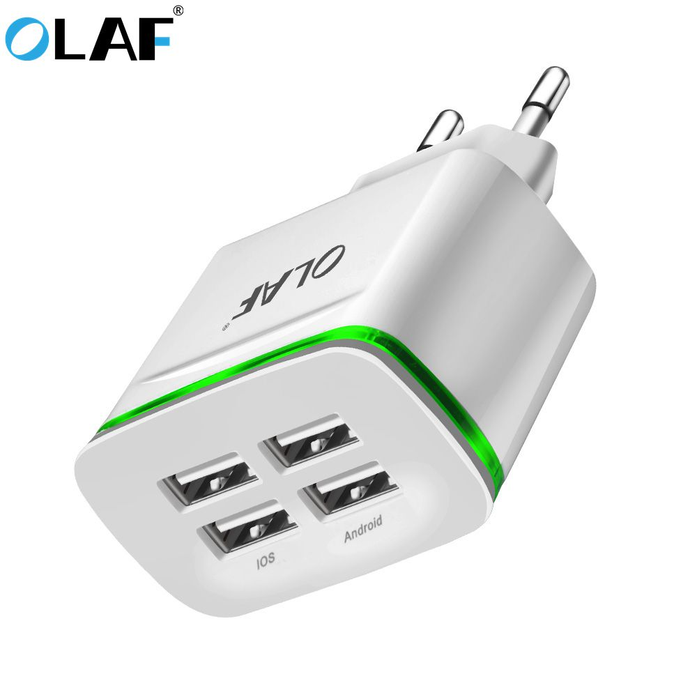 Olaf 4ports LED USB Charger for Apple iPhone wall travel Mobile phone charger for Samsung Xiaomi Huawei Nokia LG Android adapter