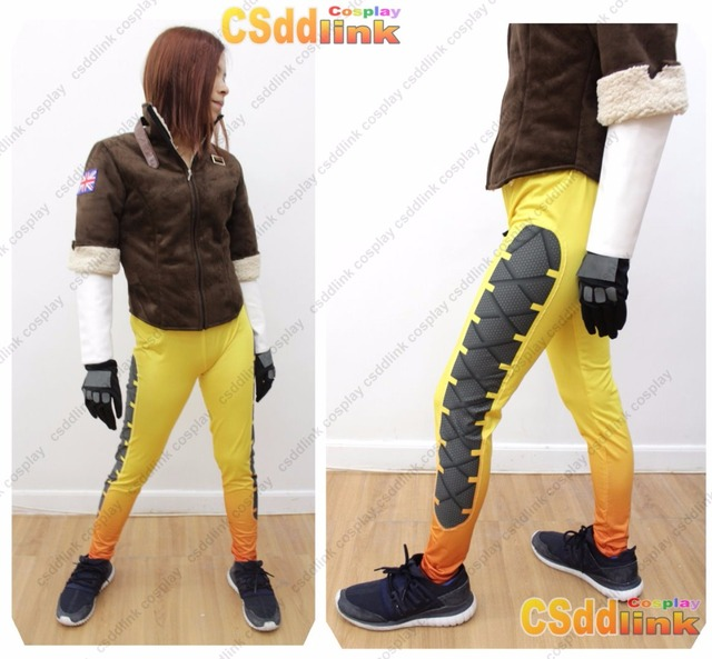 Unisex's OW Tracer Fanart Cosplay Costume leggings with glasses EJ6RzD