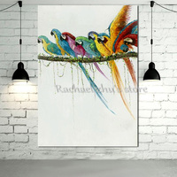 Large Handpainted Modern Abstract Animal Oil Painting On Canvas Color Birds Standing Wall Art Picture For