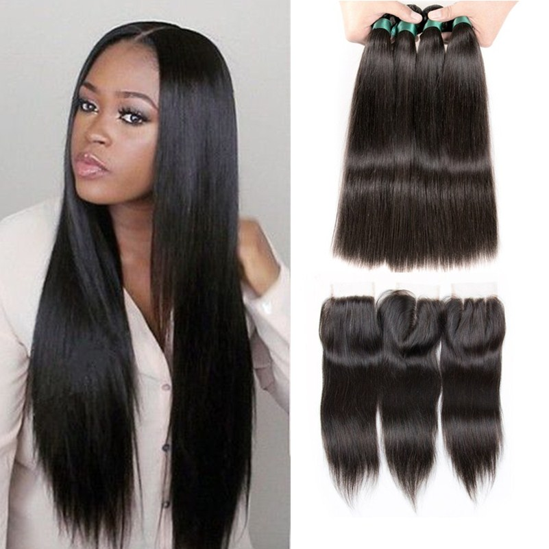 straight hair with closure