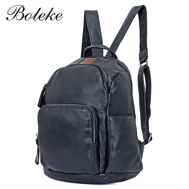Brand Men Backpack Cowhide Genuine Leather Vintage Daypack Unisex Headset Jack Backpack Woman Real Leather School