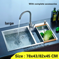 Free Shipping Kitchen Sink Large Durable Double Trough 304 Stainless Steel Hand Made Hot Sell 78x43