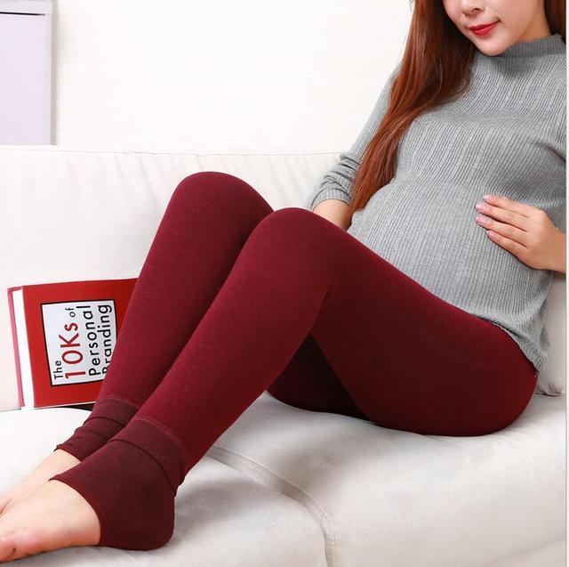 2016 Mujeres Embarazadas se Preocupan Vientre Leggings Paso Pie de Invierno Pantalones de Las Mujeres de Alta Elasticidad, Además de Terciopelo pantalones de Cachemir Pantalones para Las Mujeres