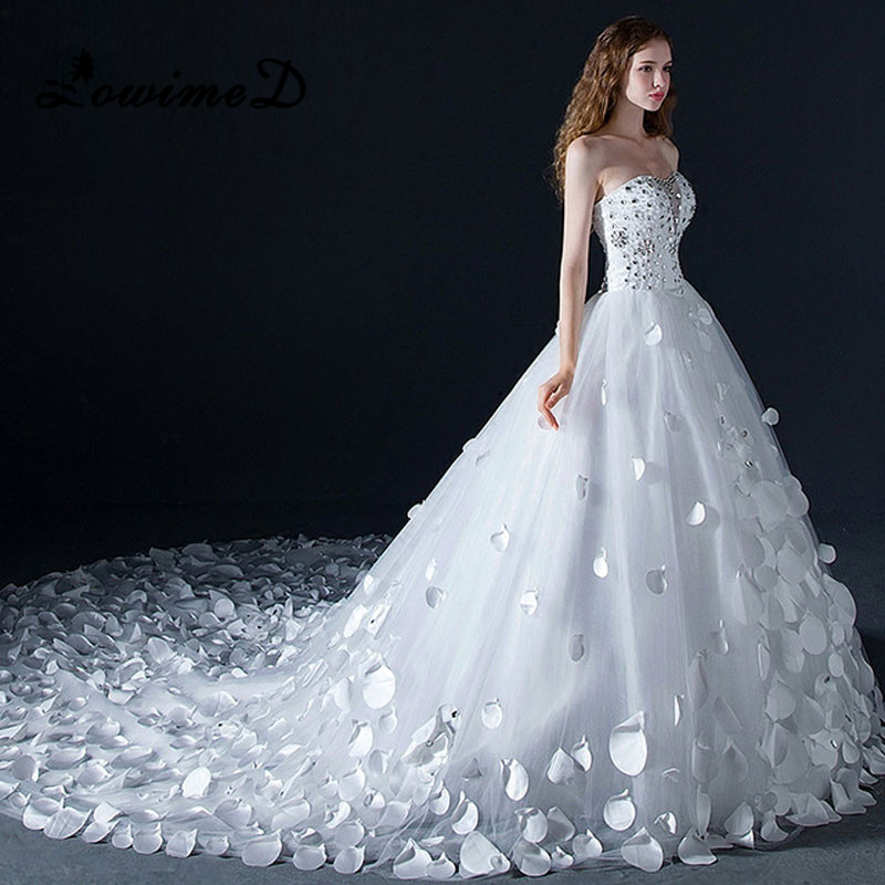 Ball Gown Wedding Dresses Crystal : Aliexpress buy long train wedding dress big ball