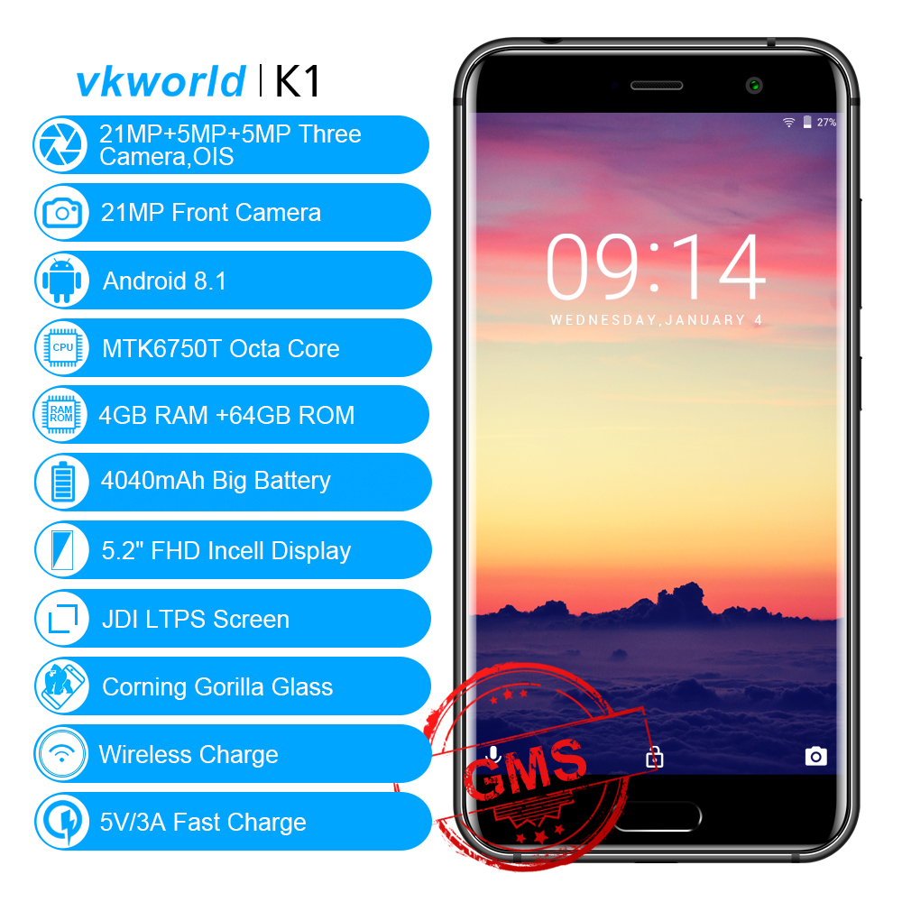 VKworld K1 Android 8.1 4 gb 64 gb Handys 5,2 ''Dual 21MP Cam MTK6750T Octa Core Drahtlose Lade Dual SIM Gesicht ID Smartphone