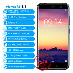 VKworld K1 Android 8.1 4GB 64GB Mobile Phones 5.2'' Dual 21MP Cam MTK6750T Octa Core Wireless Charge Dual SIM Face ID Smartphone
