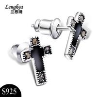 Free Shipping Fashion S925 Silver Cross Stud Earring Male Vintage Black Cross Earrings Charm Men S