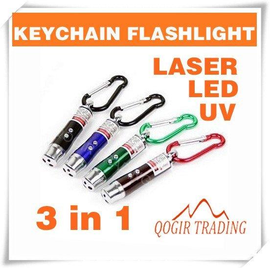 3 in 1 Laser Pointer 2 LED Flashlight UV Torch Keychain 6084