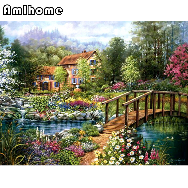 AMLHOME NEW 3D Diamond Painting Cross Stitch River Garden Crystal Needlework Diamond Embroidery Full Diamond Home Decor HC1584